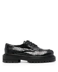 schwarze klobige Leder Derby Schuhe von Just Cavalli