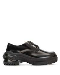 schwarze klobige Leder Derby Schuhe von Maison Margiela