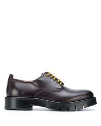 schwarze klobige Leder Derby Schuhe von Salvatore Ferragamo