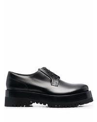 schwarze klobige Leder Derby Schuhe von Valentino Garavani
