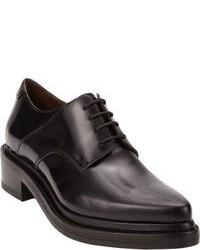 schwarze klobige Leder Oxford Schuhe