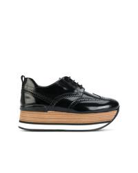 schwarze klobige Leder Oxford Schuhe von Hogan