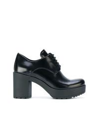 schwarze klobige Leder Oxford Schuhe von Prada