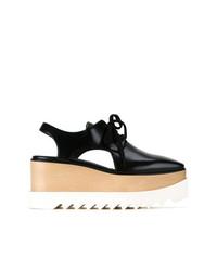 schwarze klobige Leder Oxford Schuhe von Stella McCartney