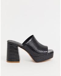 schwarze klobige Leder Pantoletten von ASOS DESIGN