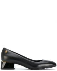 schwarze klobige Leder Pumps von Baldinini
