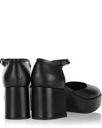 schwarze klobige Leder Pumps von Jil Sander