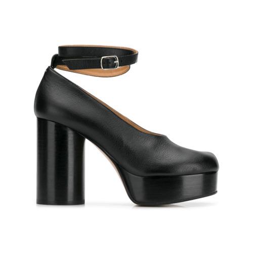 schwarze klobige Leder Pumps von Maison Margiela