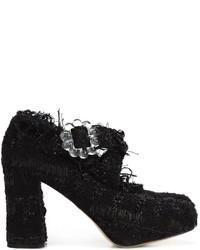 schwarze klobige Leder Pumps von Simone Rocha