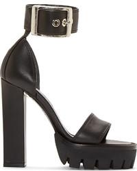 schwarze klobige Leder Sandaletten