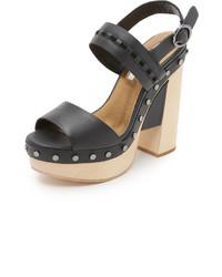 schwarze klobige Leder Sandaletten von Cynthia Vincent