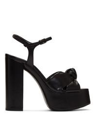 schwarze klobige Leder Sandaletten von Saint Laurent