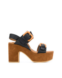 schwarze klobige Leder Sandaletten von See by Chloe