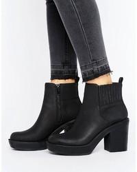 Schwarze klobige Leder Stiefeletten von Asos