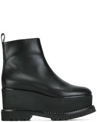 schwarze klobige Leder Stiefeletten von Givenchy