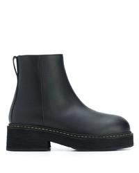 schwarze klobige Leder Stiefeletten von Marni