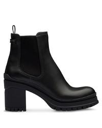 schwarze klobige Leder Stiefeletten von Prada