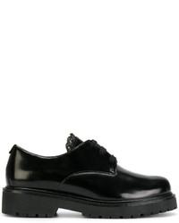 schwarze klobige Lederschnürschuhe von Twin-Set
