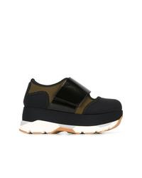 schwarze klobige niedrige Sneakers von Marni