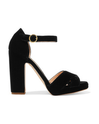 schwarze klobige Samt Sandaletten