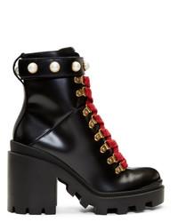 schwarze klobige Schnürstiefeletten aus Leder von Gucci