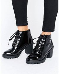 schwarze klobige Schnürstiefeletten aus Leder von London Rebel