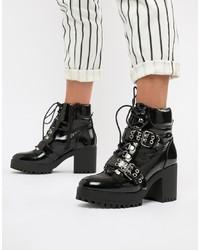 schwarze klobige Schnürstiefeletten aus Leder von Missguided