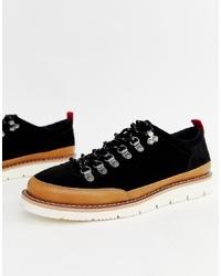 schwarze klobige Wildleder Derby Schuhe von ASOS DESIGN