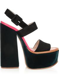 schwarze klobige Wildleder Sandaletten von Victoria Beckham