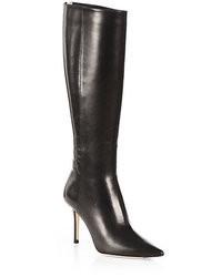 schwarze kniehohe Stiefel aus Leder