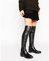 Schwarze Kniehohe Stiefel aus Leder von Aldo