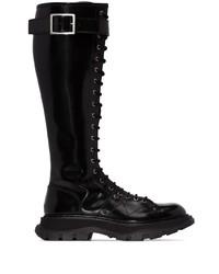 schwarze kniehohe Stiefel aus Leder von Alexander McQueen