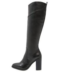 schwarze kniehohe Stiefel aus Leder von Anna Field