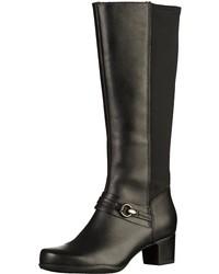 schwarze kniehohe Stiefel aus Leder von Clarks