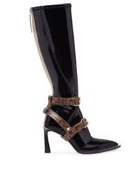 schwarze kniehohe Stiefel aus Leder von Fendi