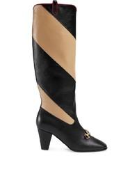 schwarze kniehohe Stiefel aus Leder von Gucci