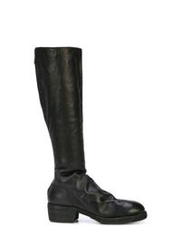 schwarze kniehohe Stiefel aus Leder von Guidi