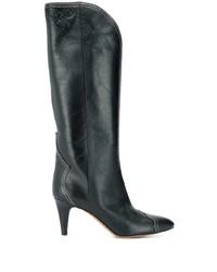 schwarze kniehohe Stiefel aus Leder von Isabel Marant