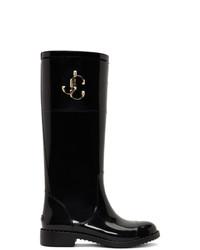 schwarze kniehohe Stiefel aus Leder von Jimmy Choo