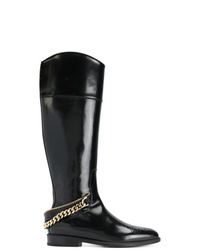 schwarze kniehohe Stiefel aus Leder von Lanvin