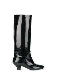 schwarze kniehohe Stiefel aus Leder von Marc Jacobs
