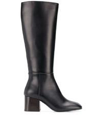 schwarze kniehohe Stiefel aus Leder von Marni