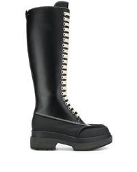 schwarze kniehohe Stiefel aus Leder von MM6 MAISON MARGIELA