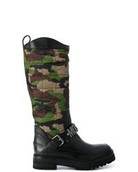 schwarze kniehohe Stiefel aus Leder von Moschino