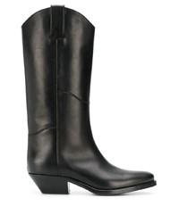schwarze kniehohe Stiefel aus Leder von P.A.R.O.S.H.
