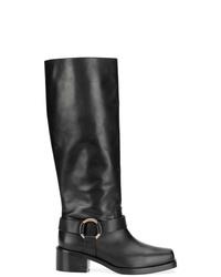 schwarze kniehohe Stiefel aus Leder von RED Valentino