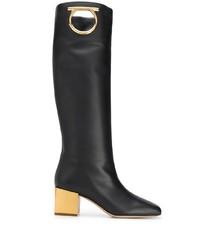 schwarze kniehohe Stiefel aus Leder von Salvatore Ferragamo