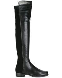 schwarze kniehohe Stiefel aus Leder von Stuart Weitzman