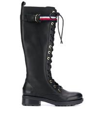 schwarze kniehohe Stiefel aus Leder von Tommy Hilfiger