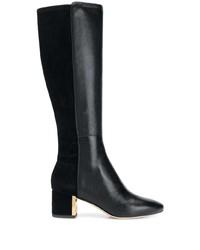 schwarze kniehohe Stiefel aus Leder von Tory Burch